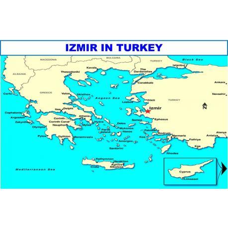 Map - Izmir in Turkey